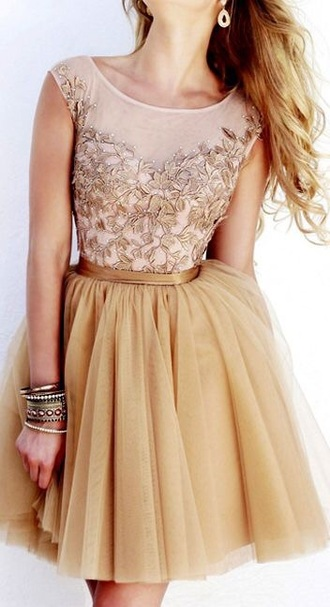 dress gold brown belt lace flowers sleeves sheer