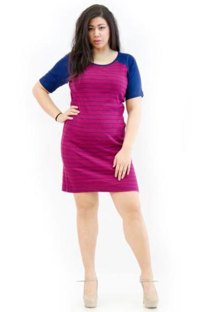 dress, striped dress, purple, hot pink, raglan, plus size ...