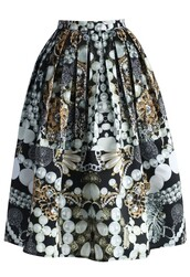 chicwish,jewlery print skirt,box pleated midi skirt