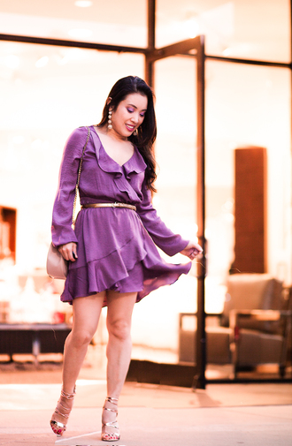 cute & little blogger dress belt shoes jewels bag purple dress ruffle dress sandals gold sandals belted dress