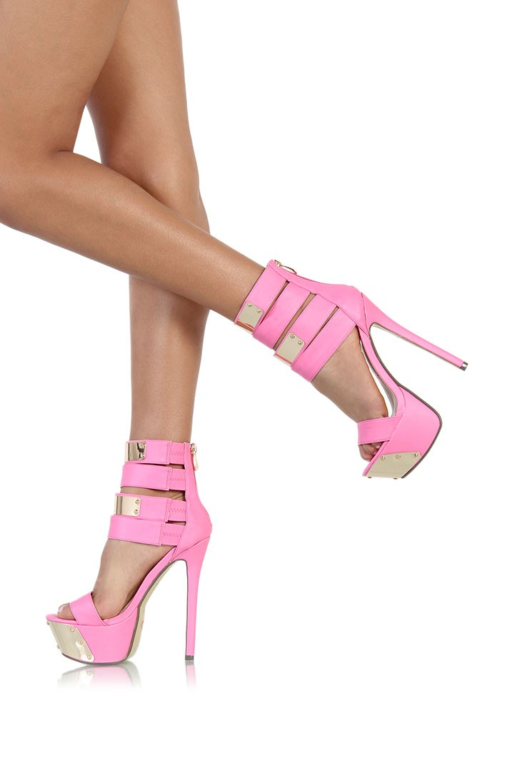 Kiss Eye Catcher Hot Pink Multi Strap Ankle Cuff Stiletto Platform ...
