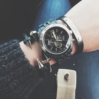 jewels bracelets black watch jewelry spikes stacked bracelets edgy
