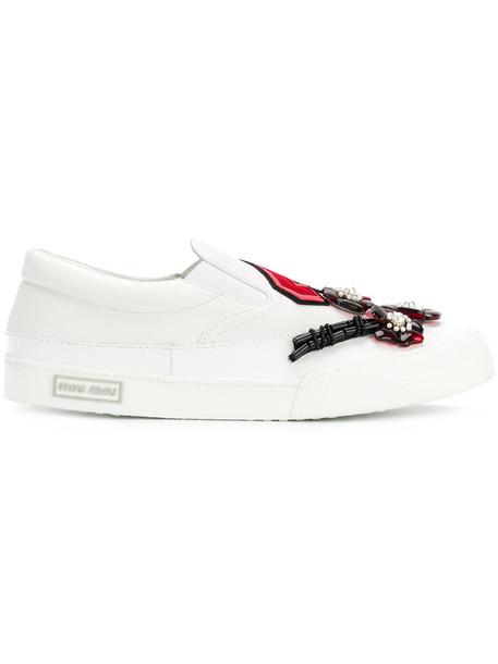 Miu Miu women embellished sneakers leather white shoes