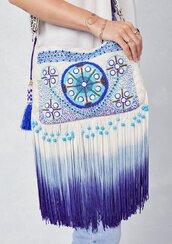 bag,fringed bag,crossbody bag,dip dyed bag,dip dyed,embroidered bag,long fringe,fringes,tassel bag,tassel,hippie,boho,bohemian,tie dye,embellished bag,boho bag