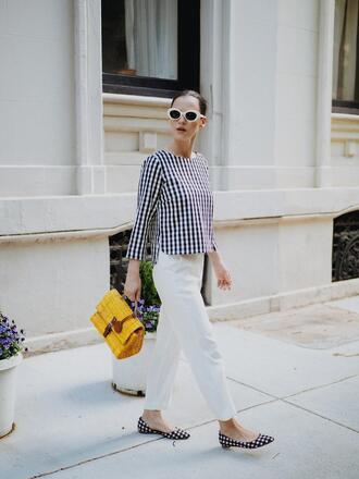 top tumblr gingham sunglasses white sunglasses pants white pants ballet flats flats bag yellow bag shoes