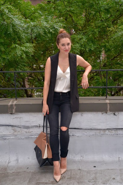 Jacket: my style pill, blogger, tank top, vest, black ripped jeans ...