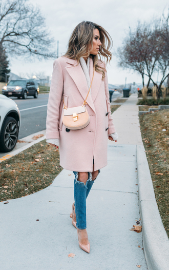 hello fashion blogger tank top cardigan coat shoes fall outfits pink coat crossbody bag pumps nude heels