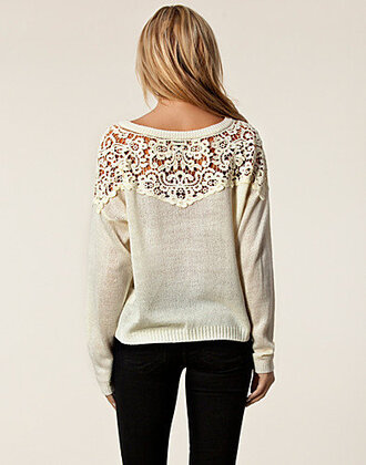 sweater lace grey cream cute white pretty winter sweater white lace lace top blonde hair clothes t-shirt hat lace sweater white sweater crochet