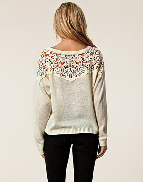 sweater crochet cream lace grey cute white winter sweater white lace lace top blonde clothes lace sweater white sweater
