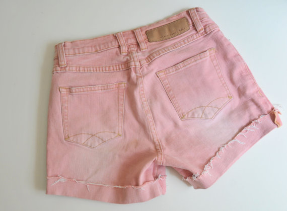Pink Jean Shorts Cut Offs// 1990s High Waisted by StellaLeeVintage