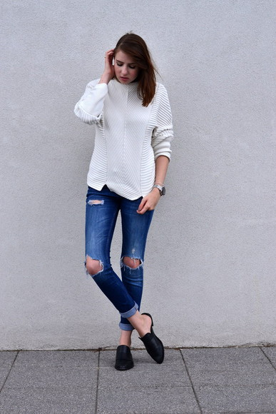sweater shoes zara summer outfits hipster shot from the street jeans ripped jeans & other stories jumper white denim black shoes loafers