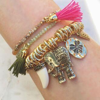 jewels jewel cult jewelry bracelets stacked bracelets charm bracelet gold bracelet beaded beaded bracelet tassel elephant boho boho chic boho jewelry bohemian