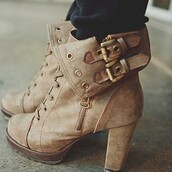 shoes,boots,high heels,brown,cute,chic,booties,ankle boots,iwantthissobad,heels,brown heals,brown boots cute,buckles,fall outfits,brown leather boots,tan lace up booties,combat boots,laced boots,adorable af,nude boots,high heels boots