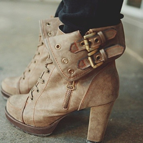 shoes boots high heels brown cute chic booties ankle boots iwantthissobad heels brown heals brown boots cute buckles fall outfits brown leather boots tan lace up booties combat boots laced boots adorable af nude boots high heels boots