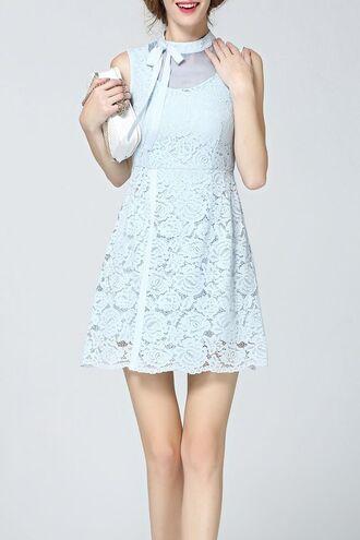 dress blue lace dress girly fashion style light blue short dress mini dress dezzal