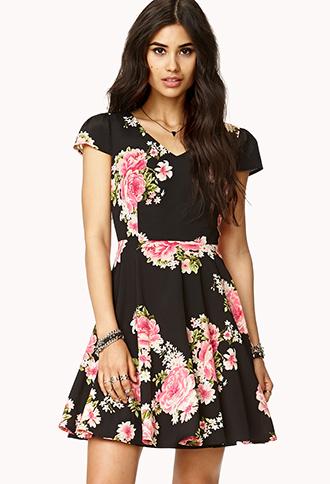 Floral Cutout A-Line Dress | FOREVER21 - 2040495621