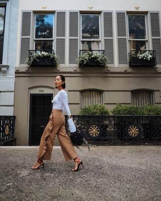 pants wide-leg pants wide leg beige pants beige pants beige top white top sandals sandal heels high heel sandals