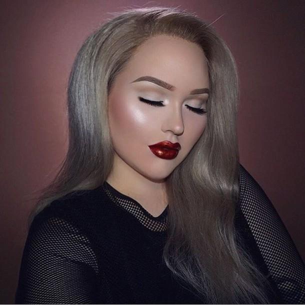make-up fall makeup look tumblr red lipstick lips lipstick eye makeup eyeliner eyebrows blonde