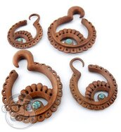 jewels,wood,brown,cut-out,ear plug,dangle,earrings,rhinestones,gauge jewelry