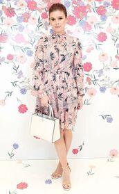 dress,floral,floral dress,spring outfits,spring dress,sandals,long sleeve dress,kate mara