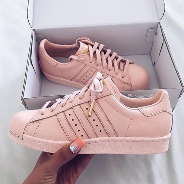 brand new cb502 93410 shoes adidas superstars addidas shoes gold and rose adidas pink adidas  superstar pastel pink gold pink