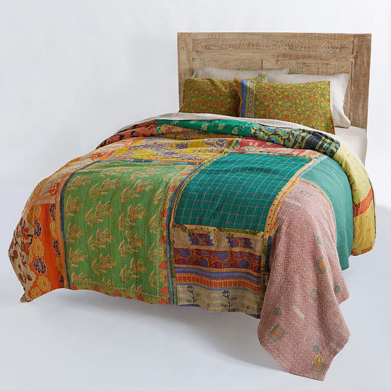 Patchwork Kantha Quilt Bohemian Indian Kantha Bedding