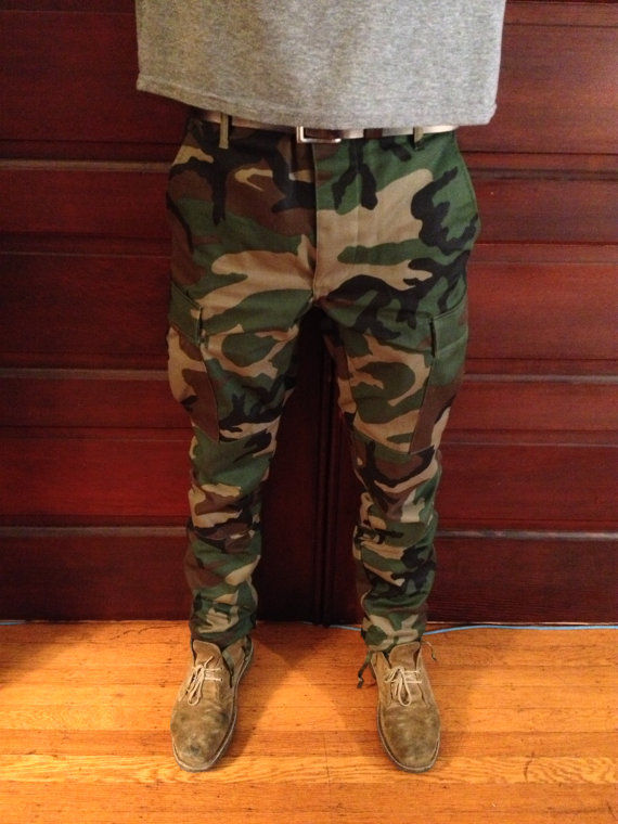 Custom Slim Tapered Authentic Camo BDU Pants by BYEGUYS on Etsy