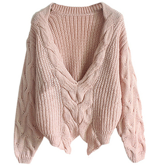 pink sweater winter sweater knit sweater v-neck fall sweater cozy thick