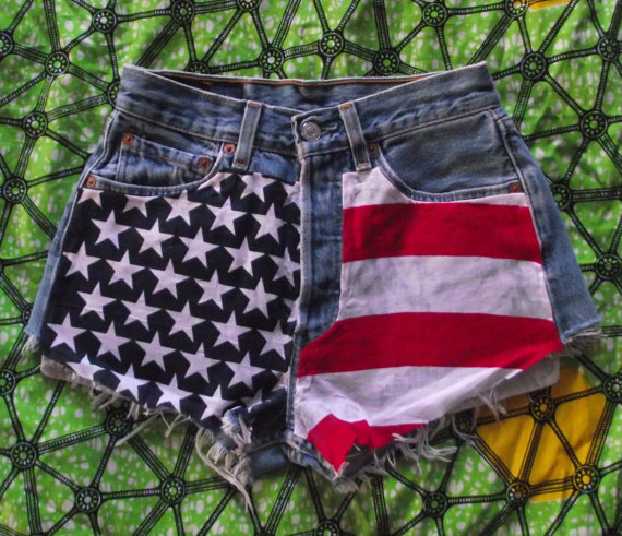 American flag high waisted star studded vintage levi by shortcuts