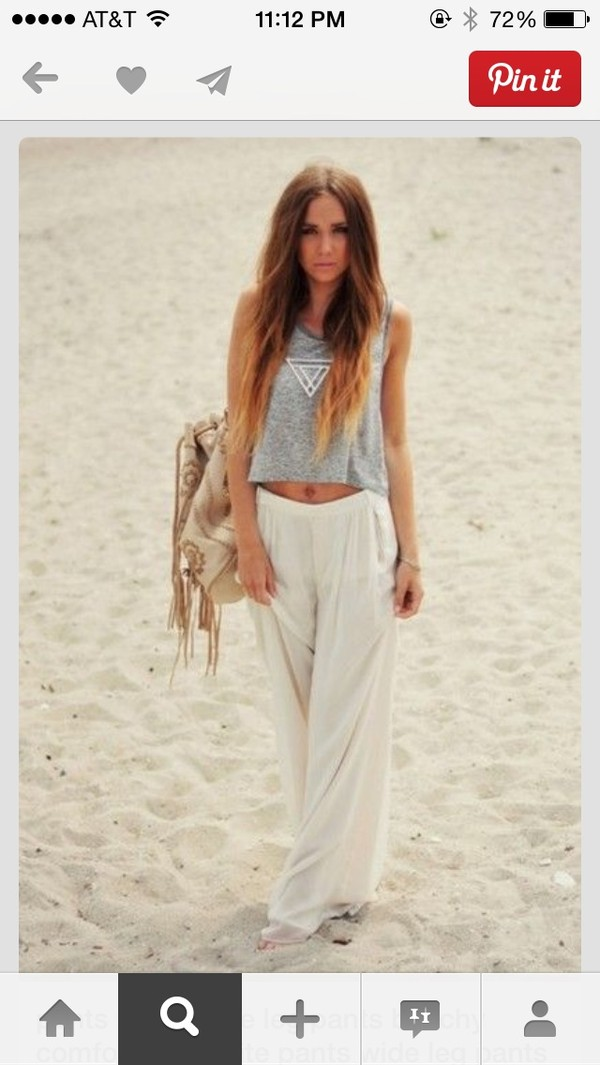 pants shirt blouse white linen cute style