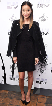 jamie chung,dress,jacket,shoes,black