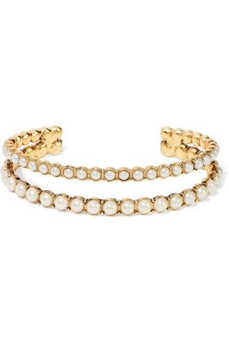 cuff pearl gold cream jewels