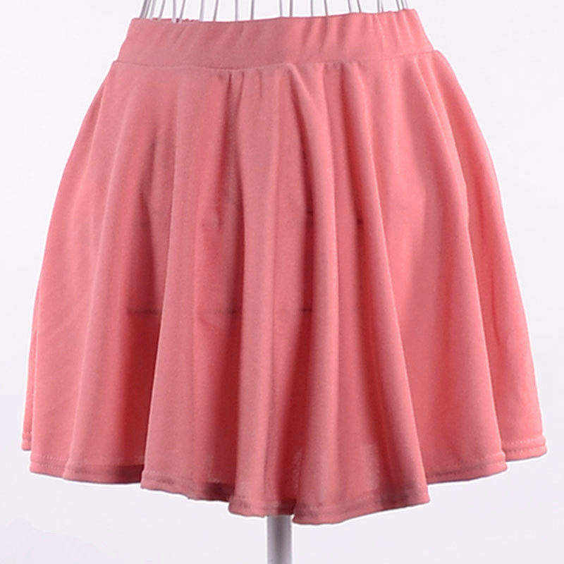 Women Candy Color Stretch Waist Plain Skater Flared Pleated Casual Mini Skirt | eBay