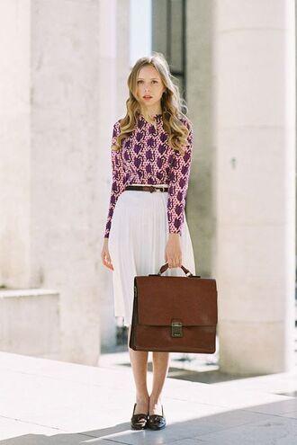 skirt pink and purple print shirt white pleated skirt brown bag black flats black belt blogger