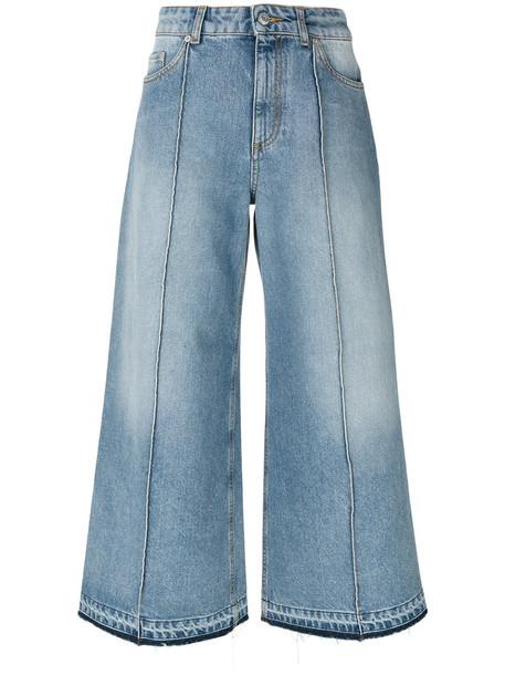 Alexander McQueen - cropped wide-leg jeans - women - Cotton - 40, Blue, Cotton