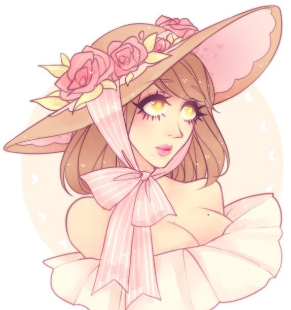 hat floppy hat roses pink pastel pink