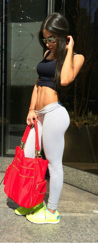 grey stretchy folded exercise stretchy pants tight jen selter