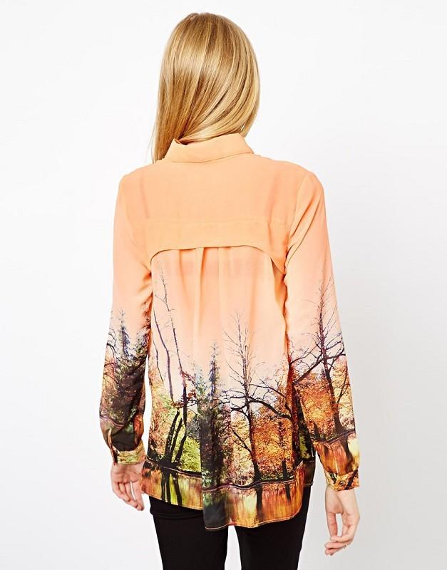 Orange Lapel Long Sleeve Landscape Print Blouse - Sheinside.com