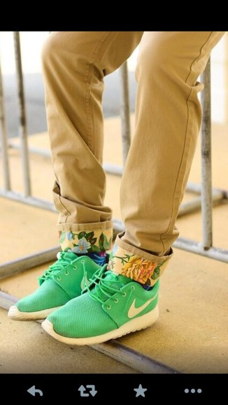pants khaki cuffed flowers floral cuffs