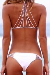 white swimwear,strappy bikini,white bikini,swimwear,white