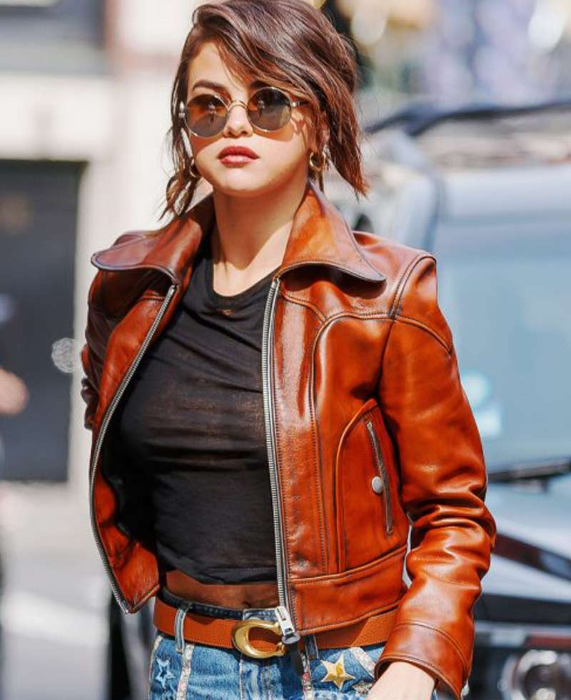 Biker Style Selena Gomez Brown Leather Jacket - Films Jackets