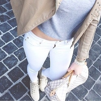 shoes louis vuitton luxery white crop tops jeans blouse bag jacket skinny jeans white jeans white skinny jeans grey t-shirt grey crop top leather jacket underwear jumpsuit