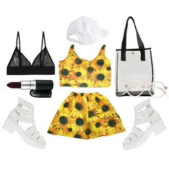 bag white bag crop top bralette skater skirt lip liner retro style topshop rare flirty sold out flowers yellow t-shirt