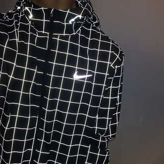 jacket nike black and white bright lines squares trippy