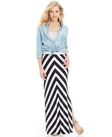 Jessica Simpson Bree Chevron-Print Maxi Skirt - Juniors Skirts - Macy's