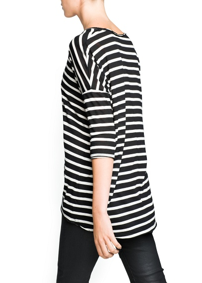 MANGO - CLOTHING - Tops - Striped modal-blend t-shirt