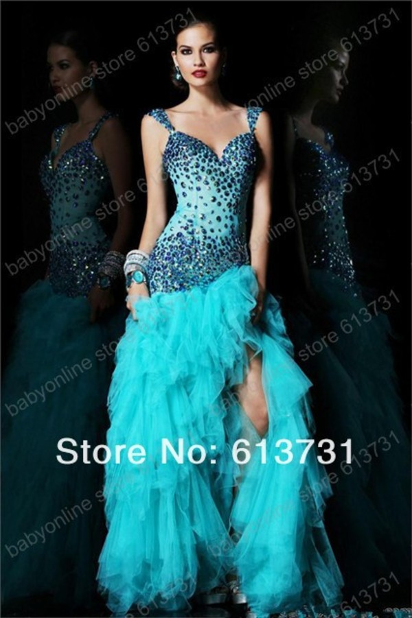 dress prom dress cute blue prom dress
