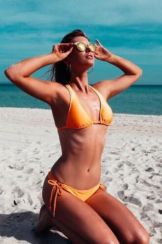 top bikini top halter top orange robb and lulu bikiniluxe