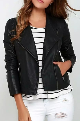 jacket biker jacket stripes striped top casual streetwear streetstyle zaful black black jacket leather leather jcket leather jacket faux leather zip up edgy classic