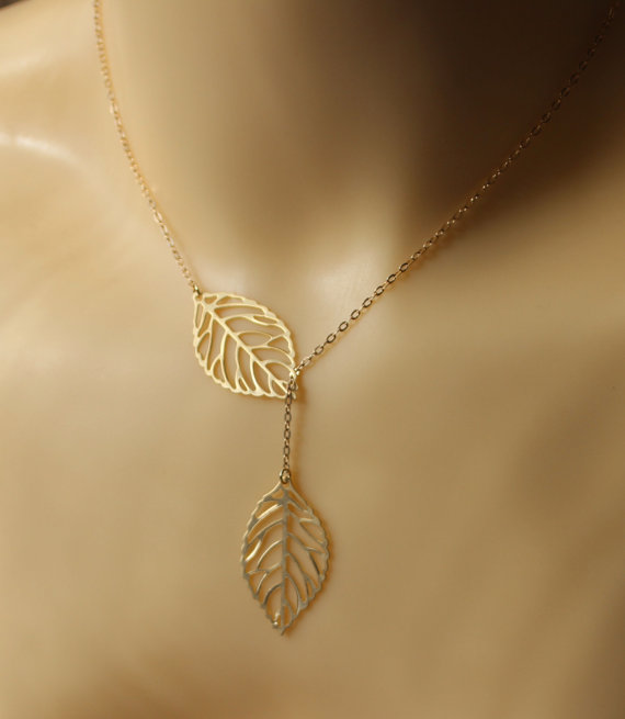 leaf necklace  gold leaf necklace  leave necklace by arbjewelry